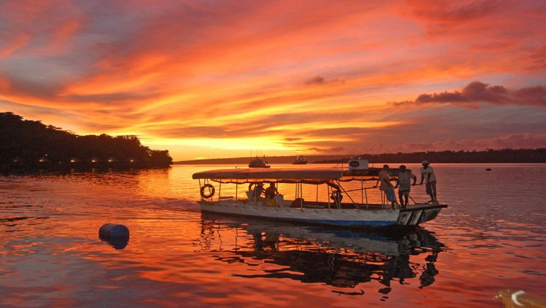 The Complete Vacation Travel Guide To Vanuatu Vacation Travel Guide To Vanuatu Iririki Island ferry at sunset Port Vila Harbour